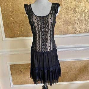 PINKY black lace & tulle mini dress M